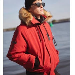 The Kooples Short Red Down Bomber Puffer Jacket